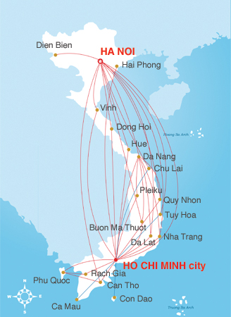 vietnam airlines domestic map