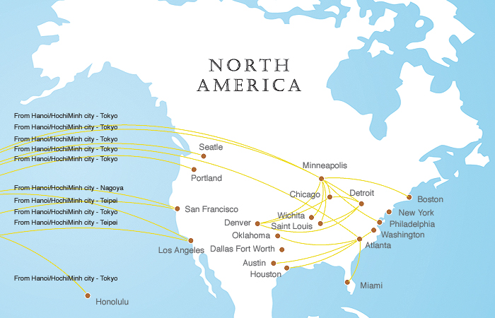 Vietnam Airlines America Map